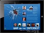 Promo flyer for 'war on the internet', event held at trades hall in melbourne featuring respected hacker jacob appelbaum, bernard keane and suelette dreyfuss. january 2012 ~ photoshop with help from google image search.